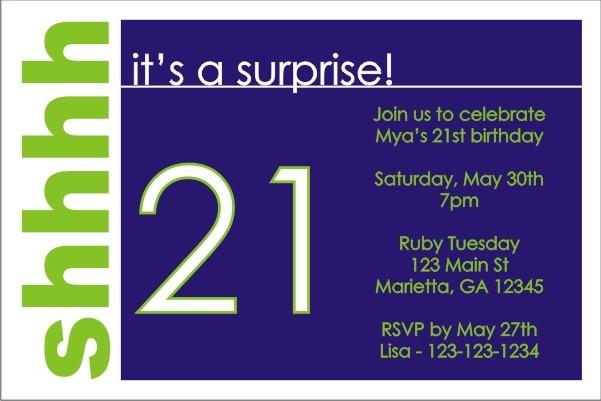 Surprise Party Invitation (Blue)