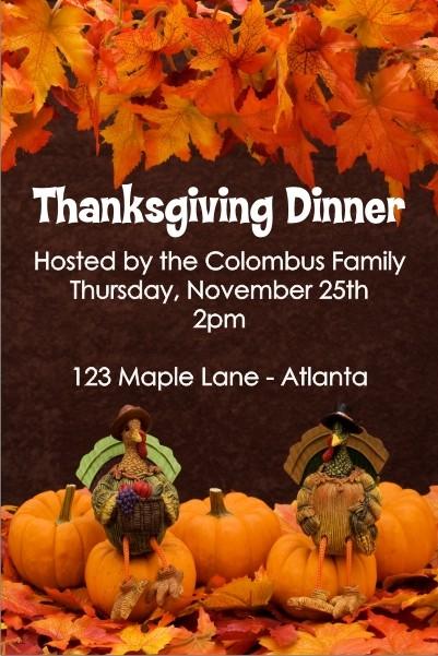 Two Turkeys Thanksgiving Dinner Invitation