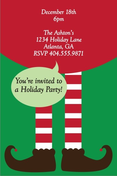 Elf Legs Christmas Holiday Party Invitation