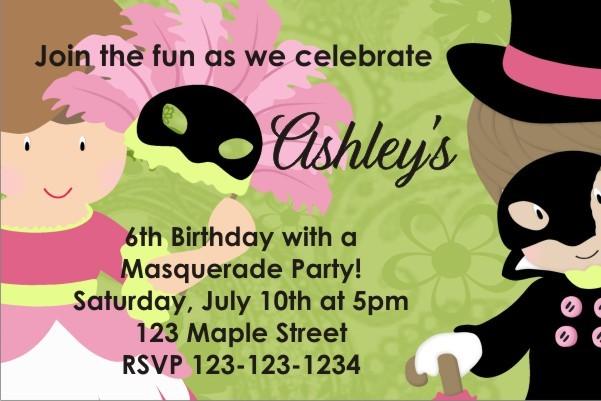 Masquerade Costume Party Invitation