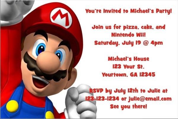 Super Mario Invitations