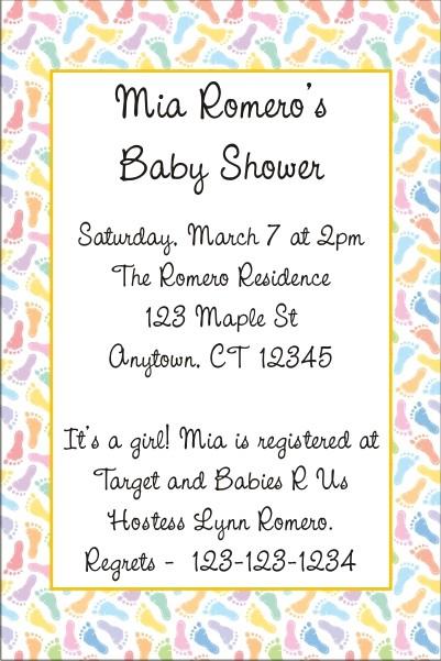 Baby Footprints Invitation