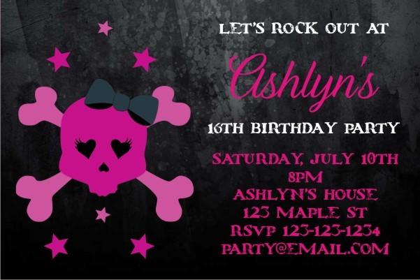 Pink Skull Grunge Gothic Emo Punk Invitation