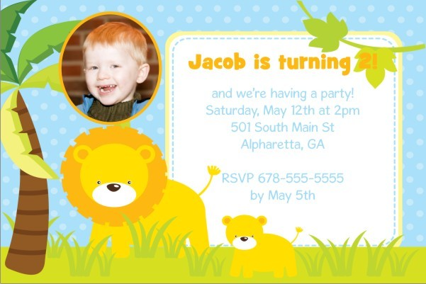 Jungle Fun Photo Invitation  - Lion and Cub