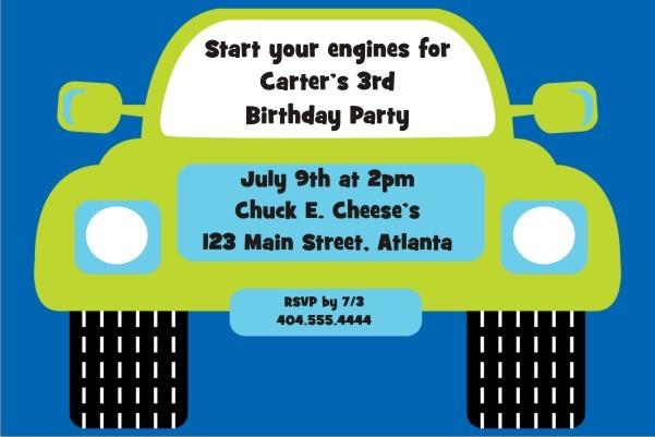 Monster Truck Invitation - Blue Green