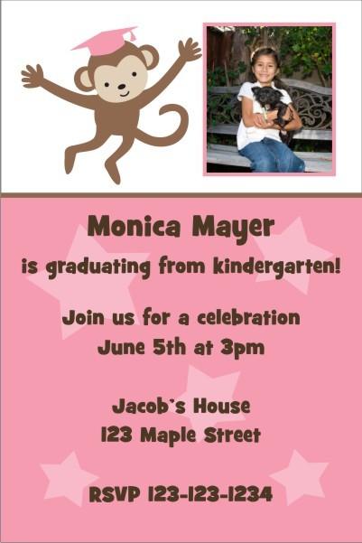Graduation Monkey Photo Invitation - Pink