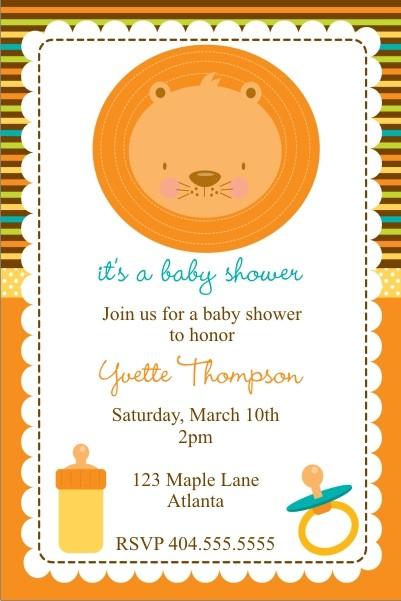 Baby Lion Baby Shower Invitation