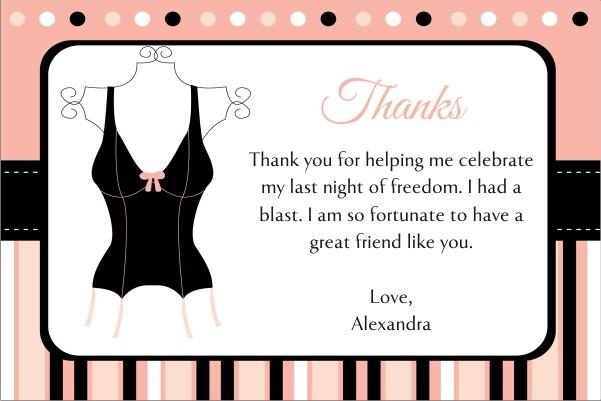 Lingerie Bridal Shower Bachelorette Party Thank You Card 3