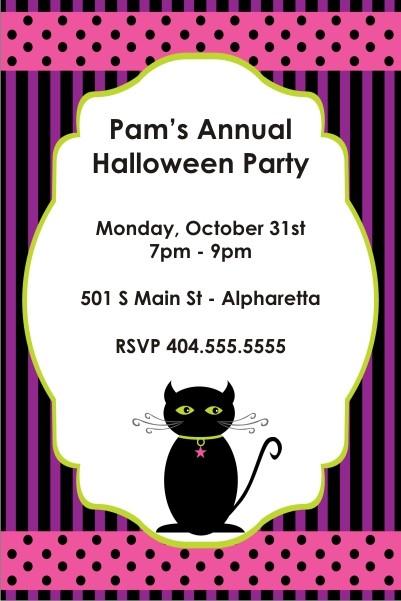 Spooky Kitty Halloween Party Invitation