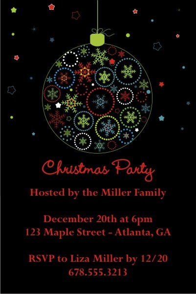 Color Burst Christmas  Holiday Card Party Invitation