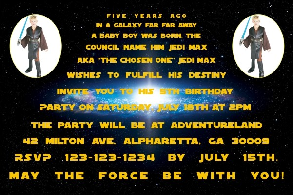 Star Wars Photo Invitations - 2 PHOTOS