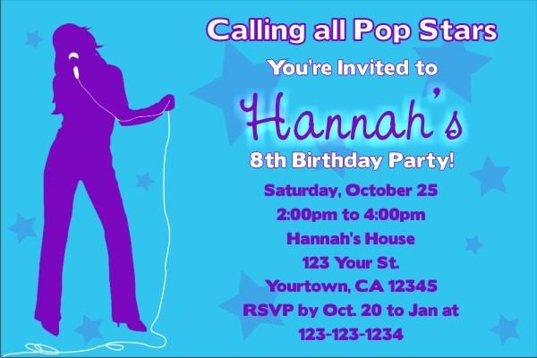 Pop Star Diva Invitation (No Photo)