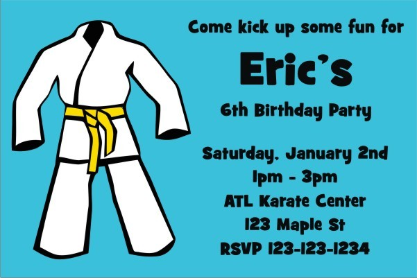 Karate TaeKwanDo Martial Arts Invitation - ALL COLORS