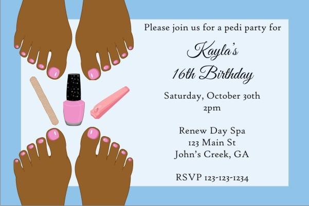 Pedicure Party Invitation - Brown Skin