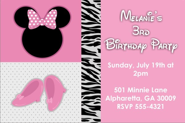 Girly Mouse Invitation (Similar to Minnie Mouse)