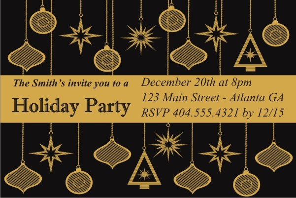 Black and Gold Ornaments Christmas  Holiday Card Party Invitation