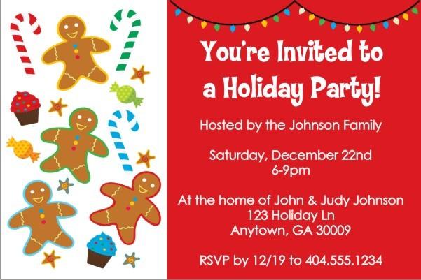Gingerbread Treats Christmas Holiday Party Invitation