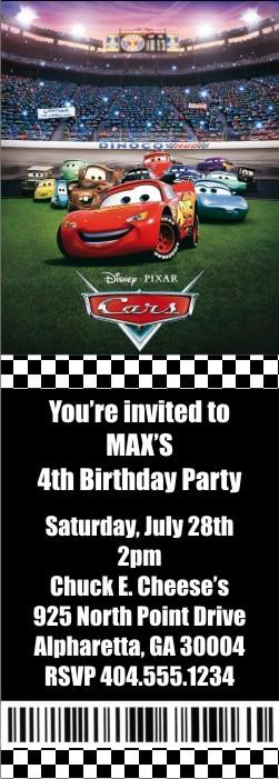 Cars Ticket Style Invitations (2.5x7)