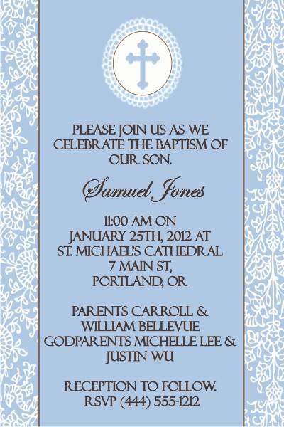 Communion / Baptism Invitation - Cocoa Blue