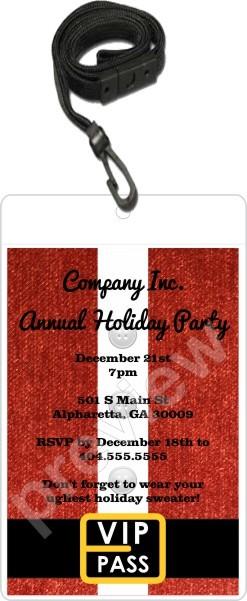 santa christmas holiday vip pass invitation lanyard