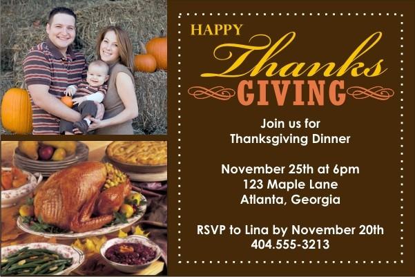 Thanksgiving Photo Card Invitation - 2 Photos