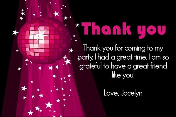Disco Thank You Cards - Pink Disco Ball