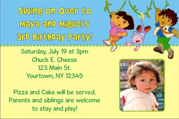 Dora and Diego Photo Invitations (1 Photo)