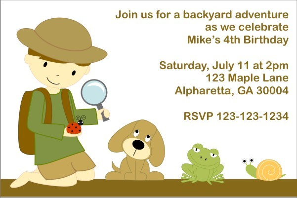 Backyard Adventure Invitation (Customizable Boy)