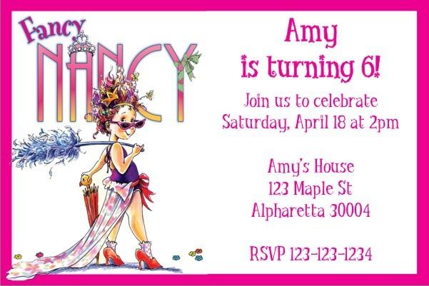 Favorite Fancy Nancy Party Invitation Personalized Party Invites XN65