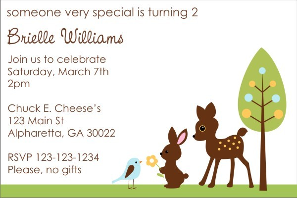 Forest Friends Baby Shower Invitation - Deer, Bunny, Bird