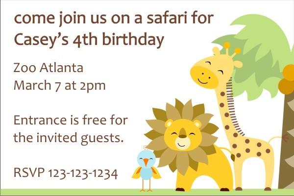 Jungle Invitation - Giraffe, Lion, Bird