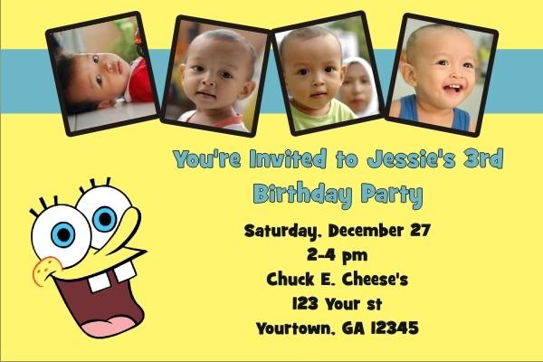 Spongebob Squarepants Photo Invitations