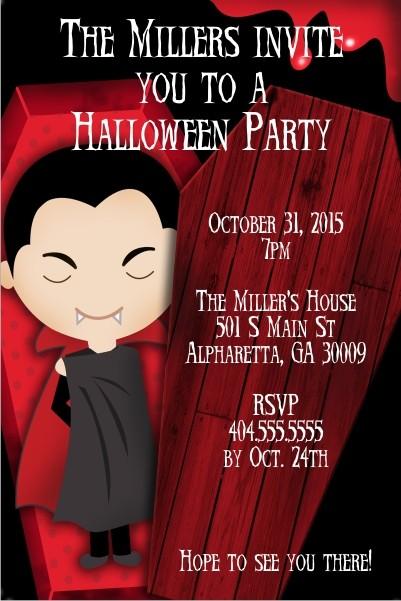 Dracula Vampire Halloween Party Invitation