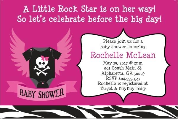 Rock Star Baby Shower Invitation - Pink
