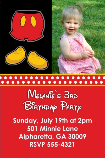 Mousy Red Shorts Photo Invitation (Similar to Mickey Mouse)