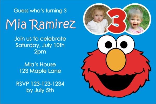 Elmo Sesame Street Photo Invitation - ALL COLORS