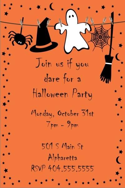 Spooky Orange Halloween Party Invitation