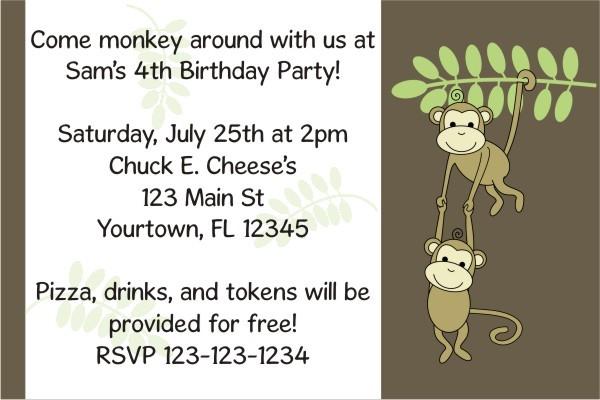 Monkey Invitation