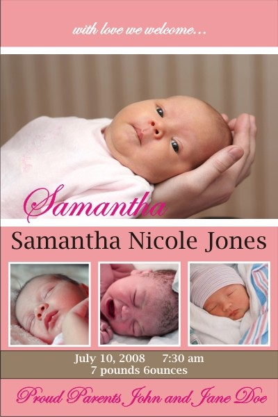Newborn Baby Birth Announcement (pink)