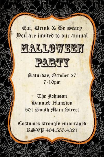 Black Spider Web Halloween Party Invitation