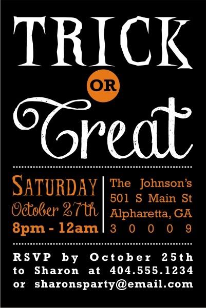 Trick or Treat Halloween Invitation