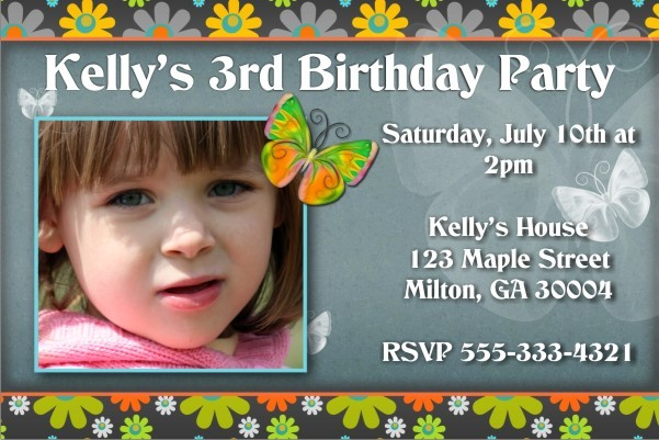 Photo Invitation 29 - Groovy 60s flowers and Butterflies