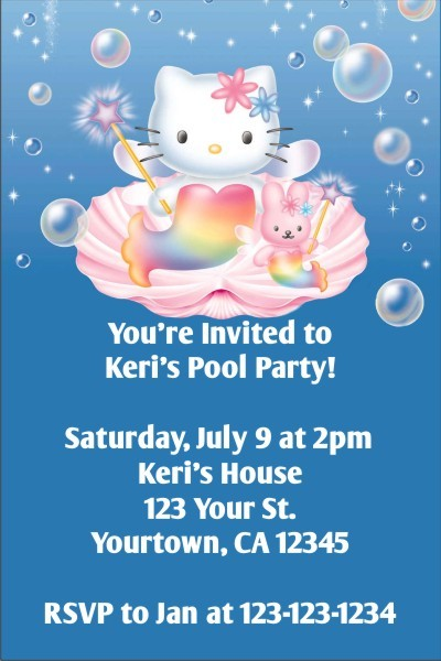 Hello Kitty Invitations - Hello Kitty Mermaid