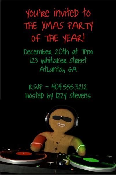 Gingerbread DJ Christmas Holiday Party Invitation