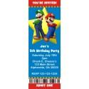 Mario and Luigi Super Mario Brothers Ticket Style Invitations (slim style)