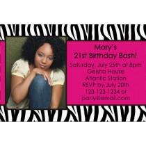 Zebra print personalized photo birthday party invitation