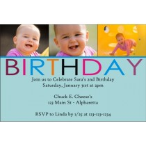 Birthday Photo Invitation (Blue)
