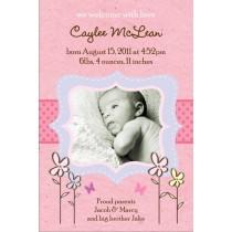 Precious Pink Girl Photo Birth Announcement Card