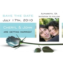 Blue Rose Save the Date Photo Invitation