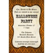 Orange Damask Halloween Party Invitation